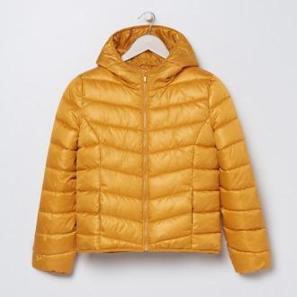 Sinsay - Pikowana kurtka z kapturem - Żółty