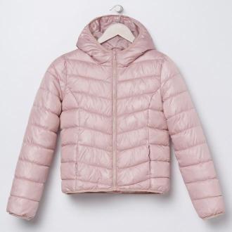 Sinsay - Pikowana kurtka z kapturem - Różowy
