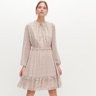 Reserved - Sukienka w drobne kropki - Kremowy
