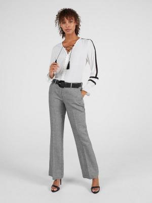 Lniano-bawełniane spodnie w kant Expresso 201DENDY