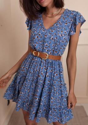 Sukienka Rima - niebieska w kwiaty