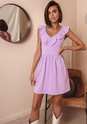 Sukienka Patil - lila w kropki