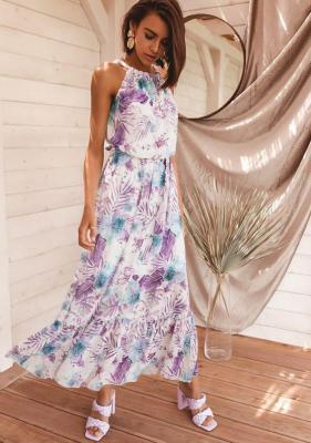 Sukienka Hibo - biała w kwiaty