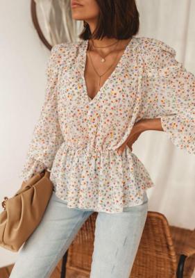 Bluzka Akila - biała w kwiaty 2