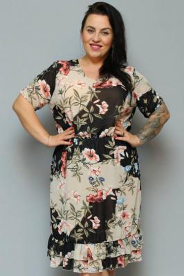 Sukienka letnia szyfonowa LINKA beżowo-czarna w kwiaty PROMOCJA