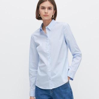 Reserved - Koszula w paski z bawełną organiczną - Niebieski