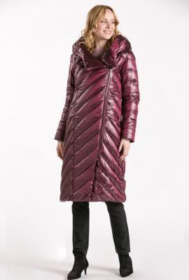 Długi pikowany płaszcz z połyskiem - Zdjęcie 1