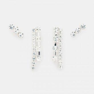 Mohito - Zestaw kolczyków z kryształkami - Srebrny
