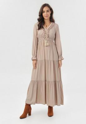 Beżowa Sukienka Phisvia - Zdjęcie 1