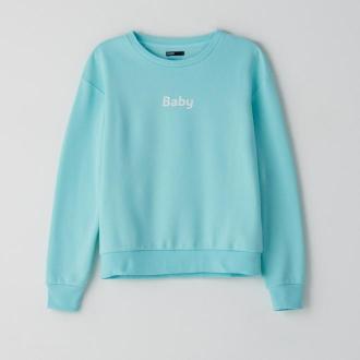 Cropp - Bluza z napisem - Niebieski