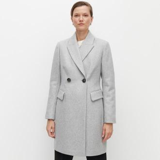 Reserved - Klasyczny płaszcz z wełną - Jasny szary