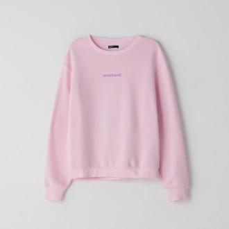 Cropp - Bluza z napisem - Różowy
