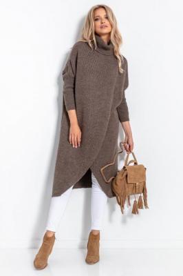 Długi Kopertowy Sweter z Golfem - Espresso - Zdjęcie 1