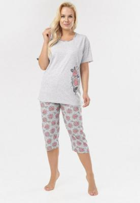 Szaro-Różowy Komplet Piżamowy Phisynore