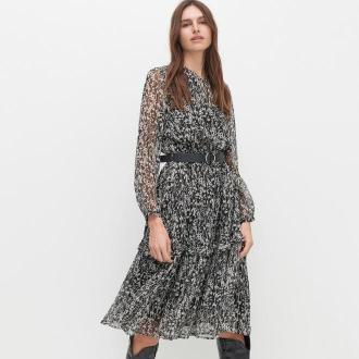 Reserved - Wzorzysta sukienka z paskiem - Czarny