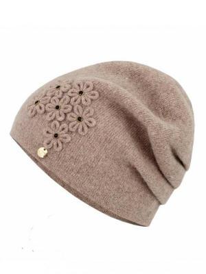 Gładka czapka z kwiatową aplikacją Potis & Verso