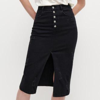 Reserved - Jeansowa spódnica - Czarny