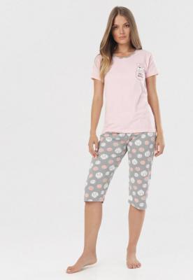 Jasnoróżowy Komplet Piżamowy Orylle