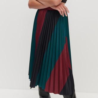 Reserved - Wzorzysta plisowana spódnica - Wielobarwny