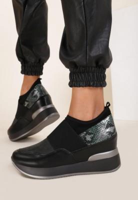 Czarno-Zielone Sneakersy Eucrante