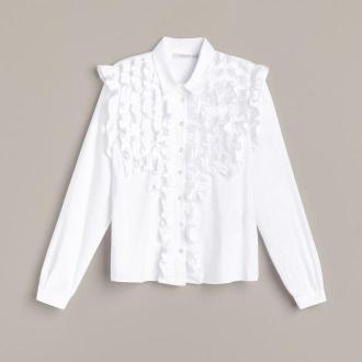 Reserved - Bawełniana koszula z żabotem - Biały
