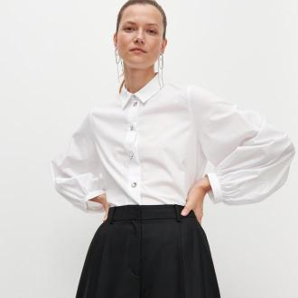 Reserved - Koszula z bufiastymi rękawami - Biały