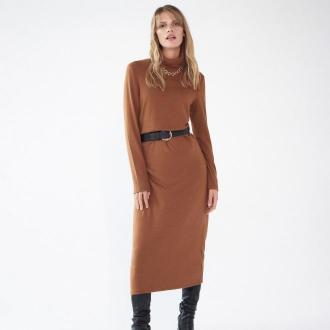 Mohito - Długa dzianinowa sukienka z golfem - Brązowy - Zdjęcie 1