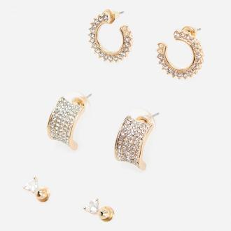 Reserved - Zestaw 3 par kolczyków z kryształkami - Złoty