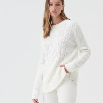 Sinsay - Sweter z warkoczowym splotem - Kremowy
