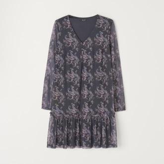 Mohito - Wzorzysta sukienka z falbaną - Niebieski