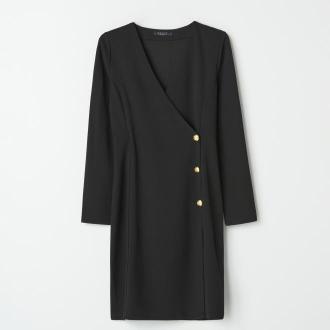 Mohito - Kopertowa sukienka z ozdobnymi guzikami - Czarny