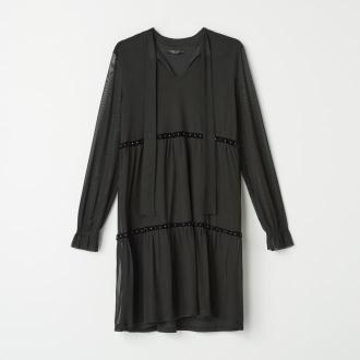 Mohito - Szyfonowa sukienka z wiązaniem - Czarny