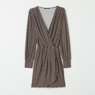 Mohito - Kopertowa sukienka z dzianiny - Brązowy