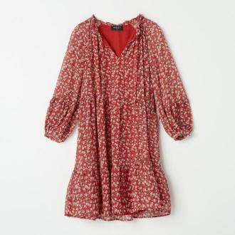 Mohito - Szyfonowa sukienka w kwiaty - Czerwony