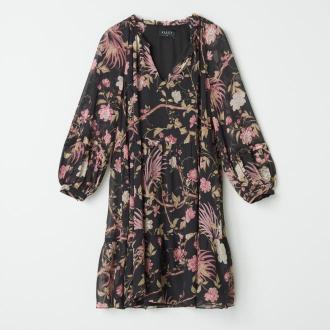 Mohito - Wzorzysta sukienka z wiązaniem - Czarny