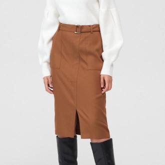 Mohito - Ołówkowa spódnica z rozcięciem - Brązowy