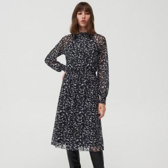 Mohito - Wzorzysta sukienka midi - Czarny