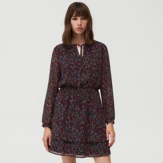 Mohito - Wzorzysta sukienka z wiązanym dekoltem - Wielobarwny