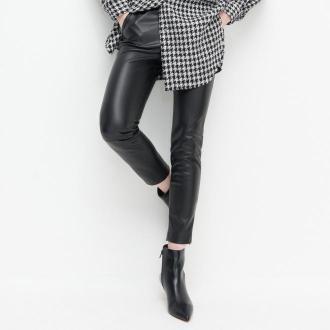 Reserved - Spodnie z imitacji skóry - Czarny
