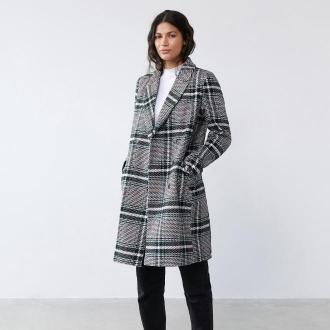 Sinsay - Dwurzędowy płaszcz z domieszką wełny - Czarny