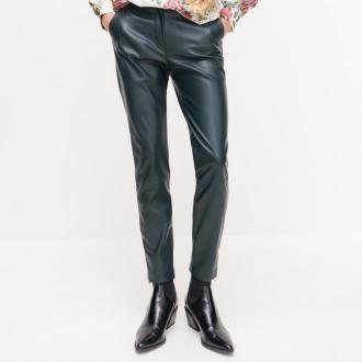 Reserved - Spodnie z imitacji skóry - Khaki
