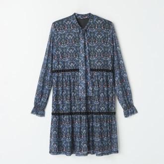 Mohito - Szyfonowa sukienka z wiązaniem przy dekolcie - Czarny