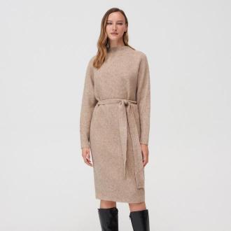 Mohito - Swetrowa sukienka z wiązaniem - Beżowy