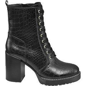 Czarne wysokie botki Catwalk we wzór skóry krokodyla