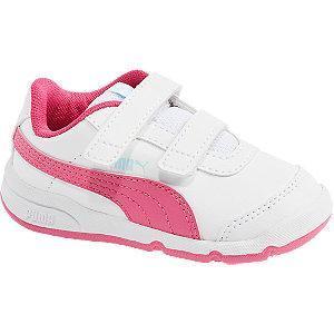 Biało-różowe sneakersy dziewczece Puma Stepflex