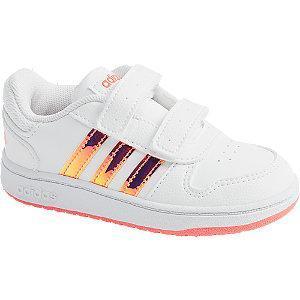 Białe markowe sneakersy dziewczęce adidas HOOPS 2.0 CMF I