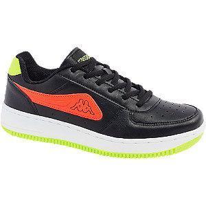 Czarne sneakersy młodzieżowe Kappa na zielonej podeszwie