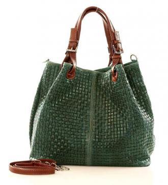 Skórzana torebka shopper MAZZINI - LINDA ciemna zieleń - Zdjęcie 1