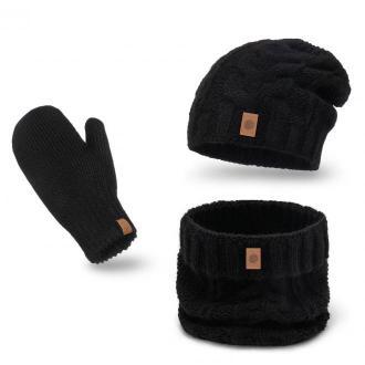 Ciepły zimowy komplet damski z rękawiczkami - Zdjęcie 1