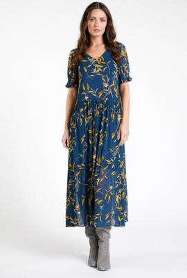 Sukienka maxi w jesienny print - Zdjęcie 1